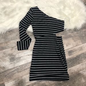 BCBG Generation Striped one shoulder dress